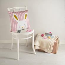 Load image into Gallery viewer, Stripy Bunny Pink Cushion Cover