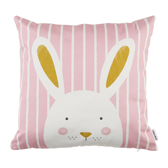 Stripy Bunny Pink Cushion Cover