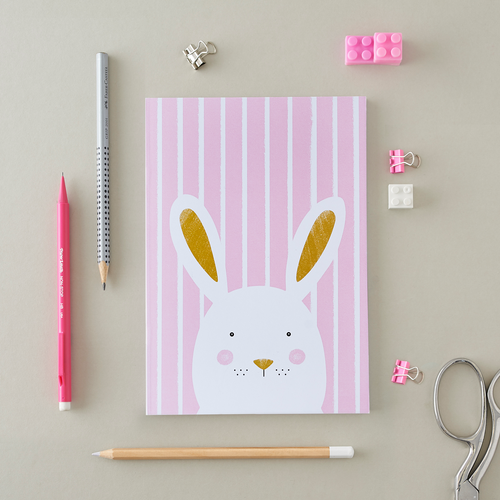 Stripy Bunny Pink A5 Notebook