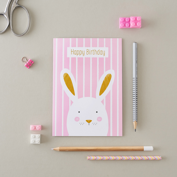 Stripy Bunny Pink Birthday Card