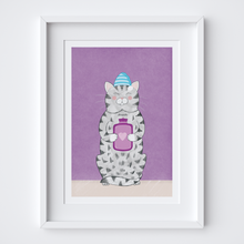 Load image into Gallery viewer, Cosy Kitty Illustrated Print