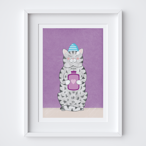 Cosy Kitty Illustrated Print