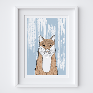 Curious Fox Illustrated Print