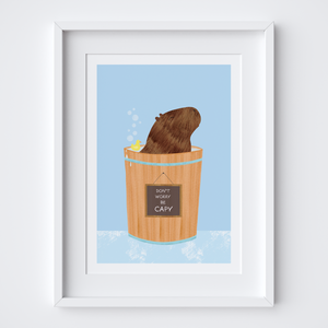 Happy Capybara (Blue) Illustrated Print