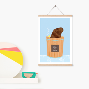 Happy Capybara Blue Art Print