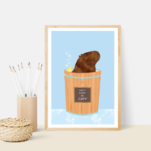 Load image into Gallery viewer, Happy Capybara Blue Art Print