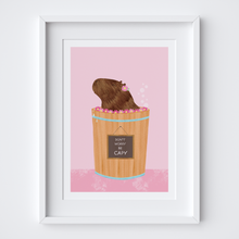 Load image into Gallery viewer, Happy Capybara (Pink) Illustrated Print