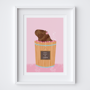 Happy Capybara Pink Art Print