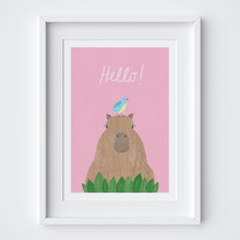 Load image into Gallery viewer, Hello Capybara Art Print