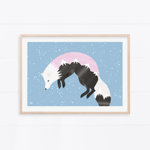 Jumping Fox Art Print