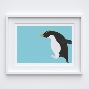 Penguin Hop Illustrated Print