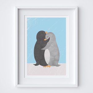 Penguin Hug Blue Art Print