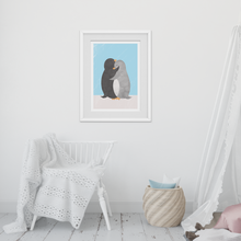 Load image into Gallery viewer, Penguin Hug Blue Art Print