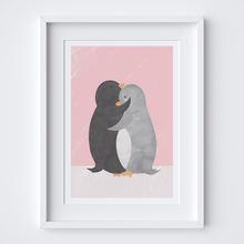 Load image into Gallery viewer, Penguin Hug Pink Illustrated Print