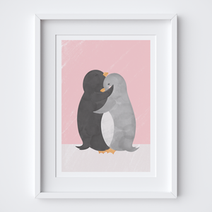 Penguin Hug Pink Illustrated Print