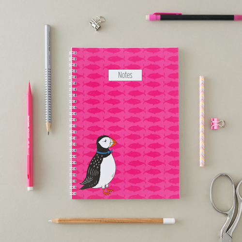 Perky Puffin A5 Notebook