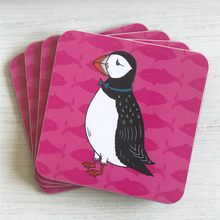 Load image into Gallery viewer, Perky Puffin Coaster Set