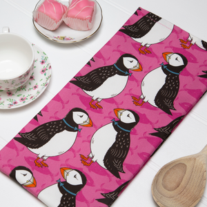 Perky Puffin Tea Towel