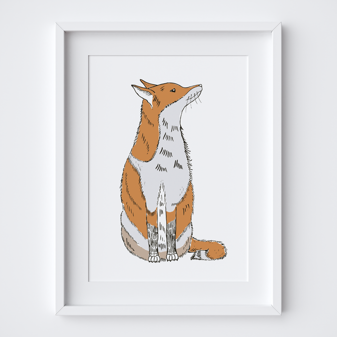Sitting Fox, Limited Edition Screen Print
