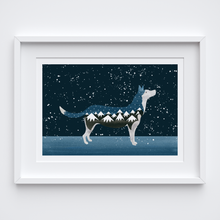 Load image into Gallery viewer, Snow Dog Illustrated Print