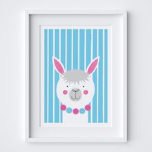 Load image into Gallery viewer, Stripy Alpaca Illustrated Print