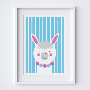 Stripy Alpaca Illustrated Print