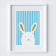 Load image into Gallery viewer, Stripy Bunny Blue Illustrated Print