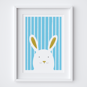 Stripy Bunny Blue Art Print