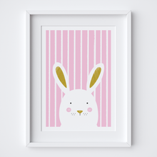Load image into Gallery viewer, Stripy Bunny Pink Illustrated Print