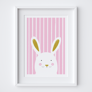 Stripy Bunny Pink Illustrated Print