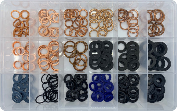 RUBBER, FIBER & COPPER SUMP PLUG WASHER ASSORTMENT KIT (APPROX QTY 230)