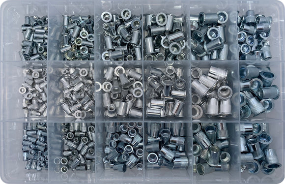 METAL & ALUMINIUM - METRIC & UNC RIVNUT ASSORTMENT KIT (APPROX QTY 490)