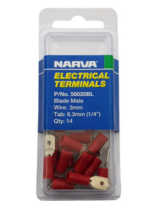 "ELECTRICAL TERMINAL - BLADE MALE 3MM WIRE, 6.3MM (1/4"") TAB (QTY 14)"