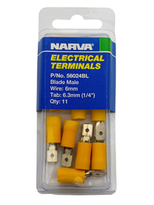 "ELECTRICAL TERMINAL - BLADE MALE, 5-6MM WIRE, 6.3MM (1/4"") TAB (QTY 11)"