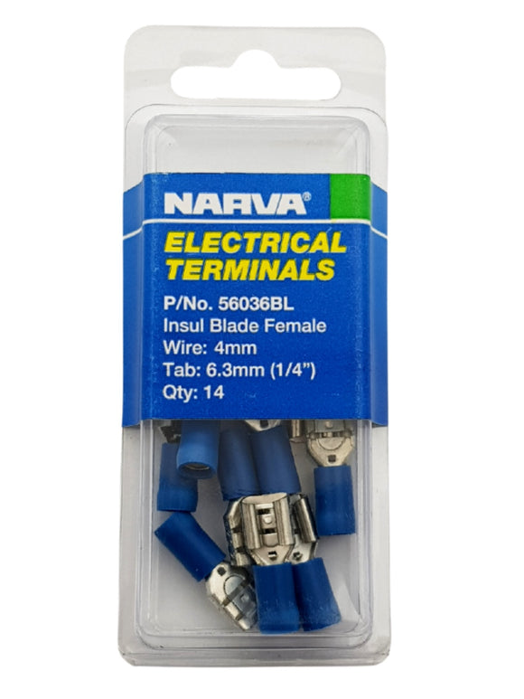 ELECTRICAL TERMINAL - BLADE FEMALE, 4MM WIRE, 6.3MM (1/4