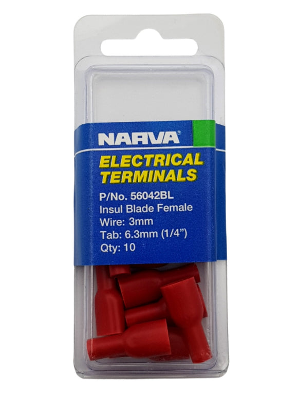 ELECTRICAL TERMINAL - INSULATED BLADE FEMALE, 3MM WIRE, 6.3MM (1/4