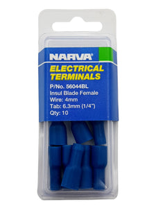 "ELECTRICAL TERMINAL - INSULATED BLADE FEMALE, 4MM WIRE, 6.3MM (1/4"")  TAB (QTY 10)"
