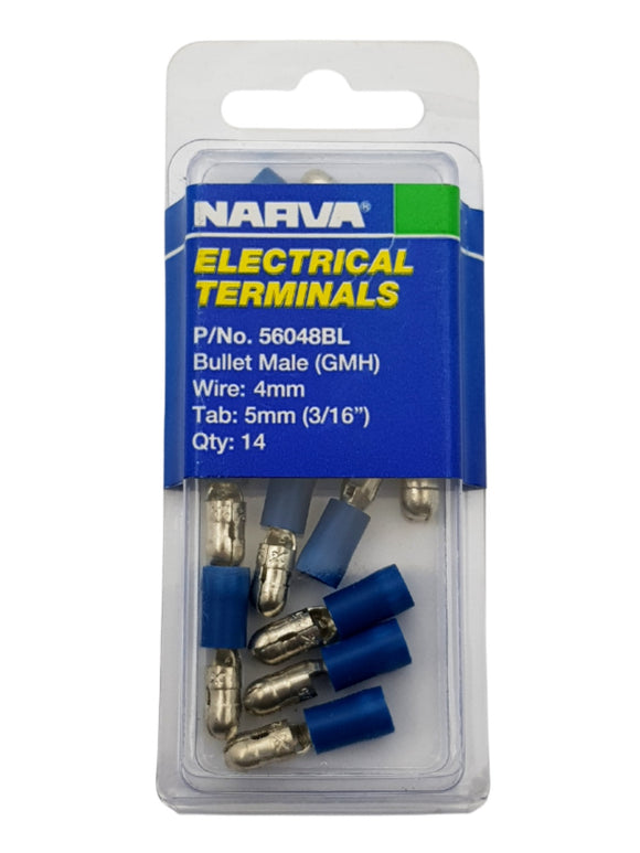 ELECTRICAL TERMINAL - BULLET MALE GMH, 4MM WIRE, 5MM (3/16