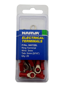 "ELECTRICAL TERMINAL - RING TERMINAL, 3MM WIRE, 5MM (3/16"") DIAMETER (QTY 25)"