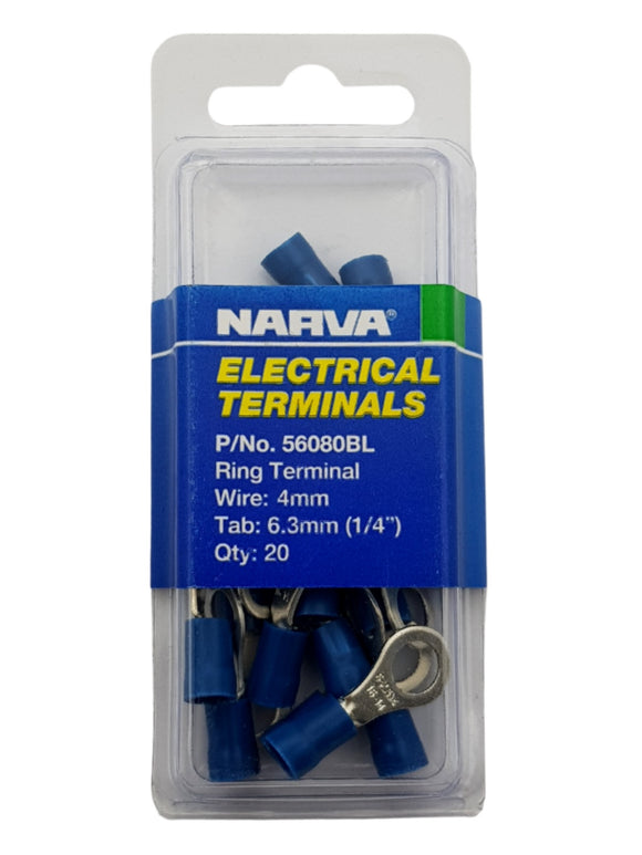 ELECTRICAL TERMINAL - RING TERMINAL, 4MM WIRE, 6.3MM (1/4