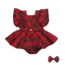 Load image into Gallery viewer, Tartan Romper with skirt