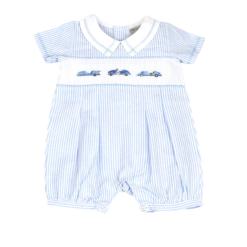 Smocked Embroidered Cars Romper