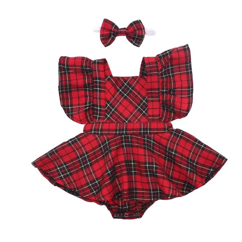 Tartan Romper with skirt