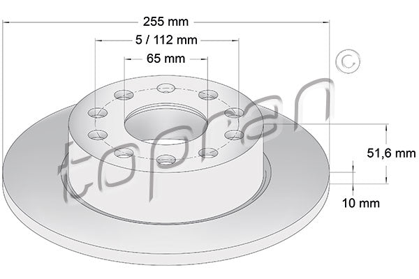 REAR BRAKE ROTOR SET | 255MM | 5Q0615601F