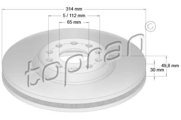 FRONT BRAKE ROTOR SET | 314MM | 5QF615301A