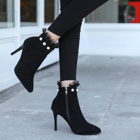 Pearl Lace Ankle Boot