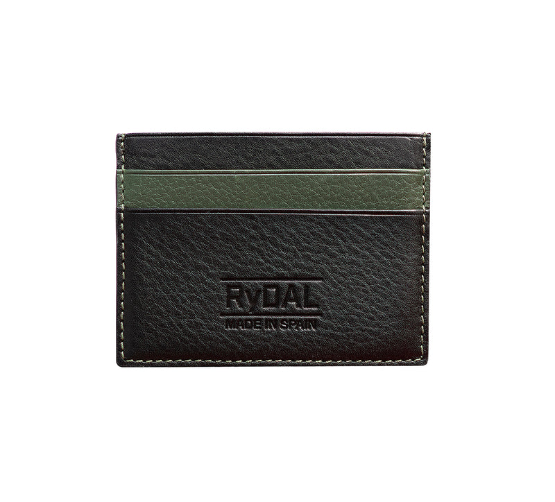 Maiano Mens Leather Card Holder in 'Black/Green'. Italian Leather. RFID protection.