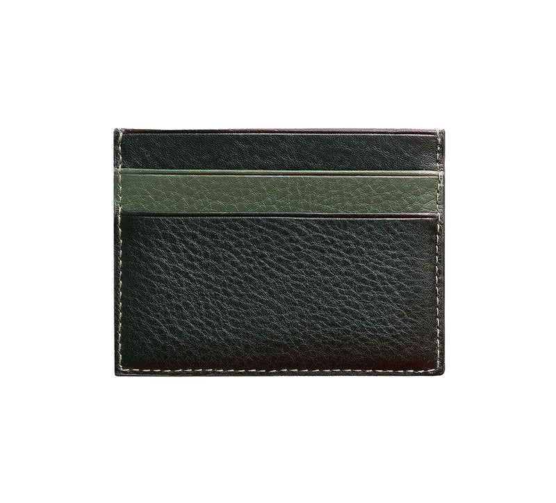 Maiano Mens Leather Card Holder in 'Black/Green' showing reverse side. Italian Leather. RFID protection.