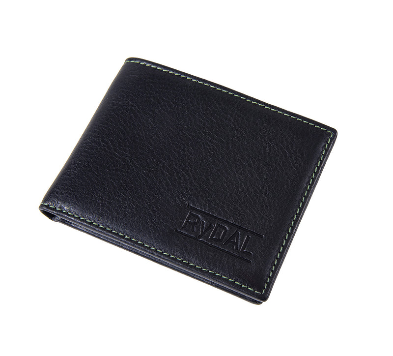 Solaia Mens Leather Wallet from Rydal in 'Black/Green' showing wallet closed.