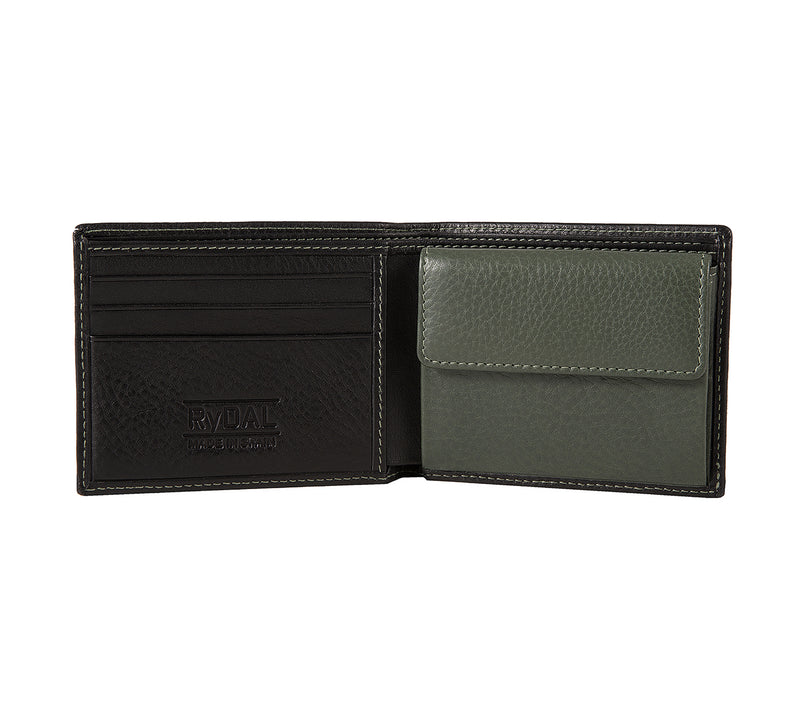 Solaia Mens Leather Wallet with Coin Pocket from Rydal in 'Black/Green' showing interior.